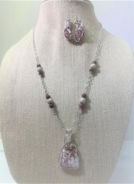 Lace Agate Pendant on Sterling Silver Chain #109