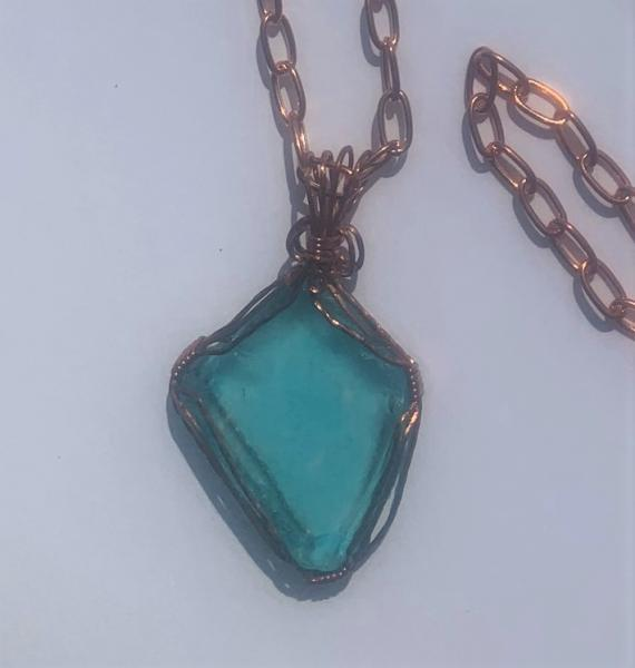 Turquoise Sea Glass Wrapped with Copper Wire Necklace #617