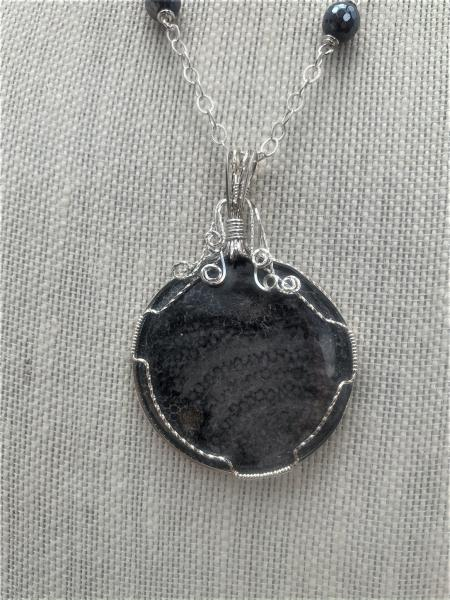 Black Coral SS Pendant Necklace #105
