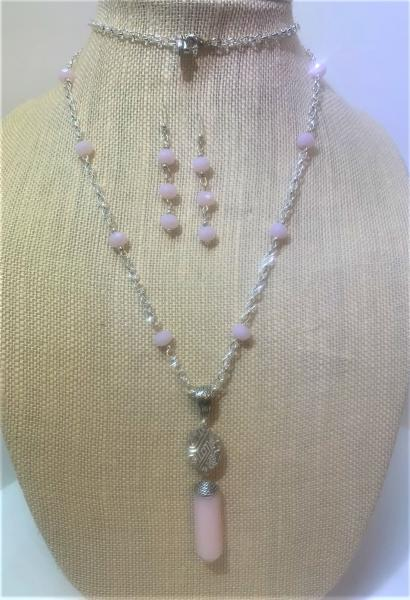Rose Quartz Obelisk Sphere Necklace #412