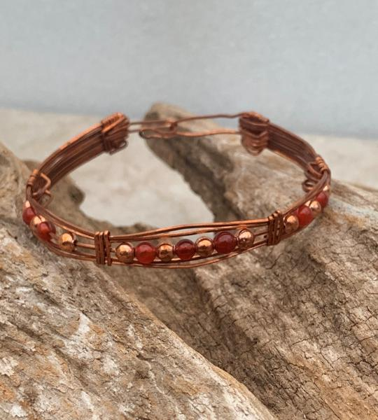 Copper  with Carnelian Beads Bracelet #602