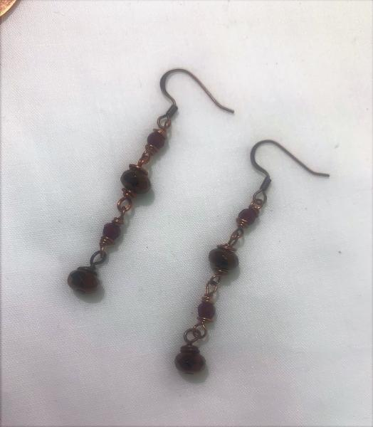 Coppertone Glass Bead Earrings #624