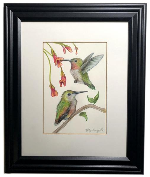 """Hummingbirds"", Small Original 5 x 7 Color Pencil Art picture"