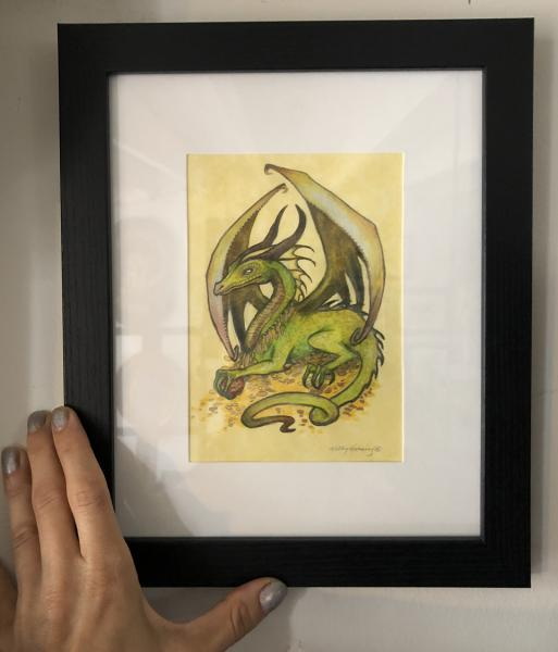 """Good Fortune"", Small Original 5 x 7 Color Pencil Art, Dragon Series"