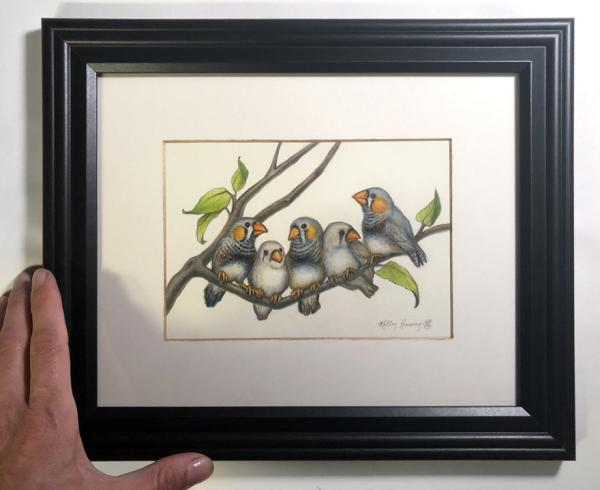 """LittleZebraFinches"", original small work 7x5 inches"
