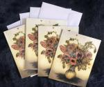 "Set of 4 Note Cards ""Regret-Me-Nots"",  strange flowers...4.5 x 5.5"