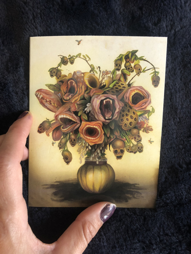 "Set of 4 Note Cards ""Regret-Me-Nots"",  strange flowers...4.5 x 5.5 picture"