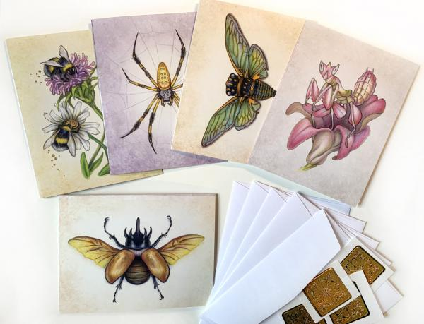 Notecards, Unique Insects with gold accents 4.5 x 5.5