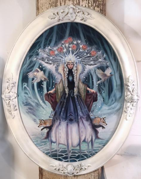 """The Snow Queen"", Original Oil Painting, Framed Art, Fantasy / Fairy"