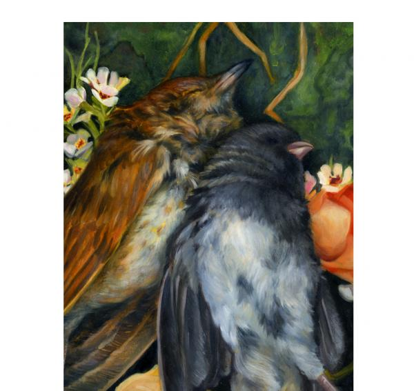"""LoveBirds"", Original Oil Painting, Oval Framed Art"