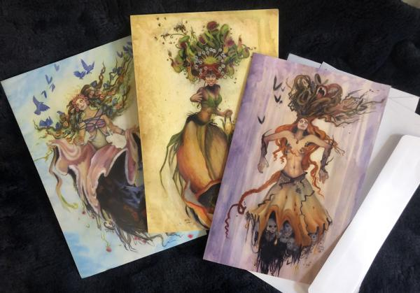 "3 Large Cards w/Envelopes & Stickers, 5.5 x 8.5  ""Three Witches"" of Nature, Nightmare and Spring picture"