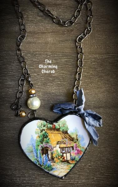 Broken china cottage necklace