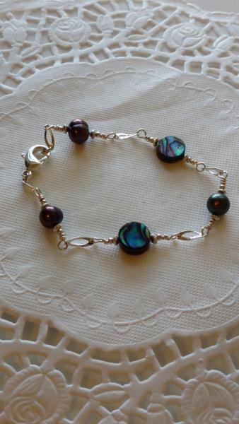 Abalone and Black Pearl Bracelet