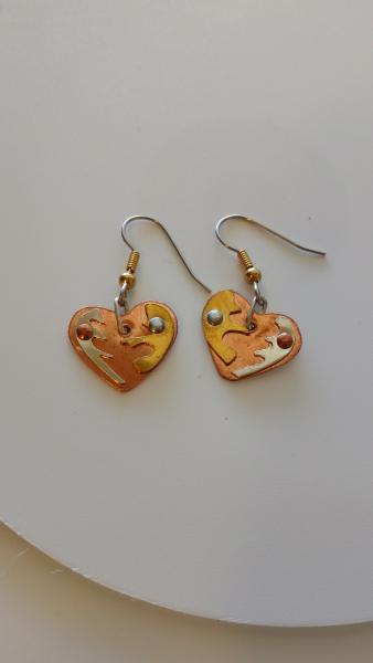 mixed Metal Copper Heart Base with Silver and Brass Designs