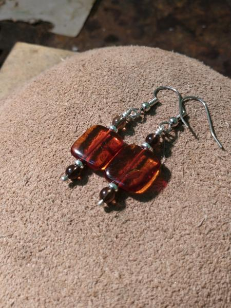 Amber and Smokey Topaz Earrings