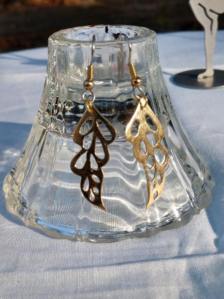 Brass Hand Cut Leaf Shape Earrings