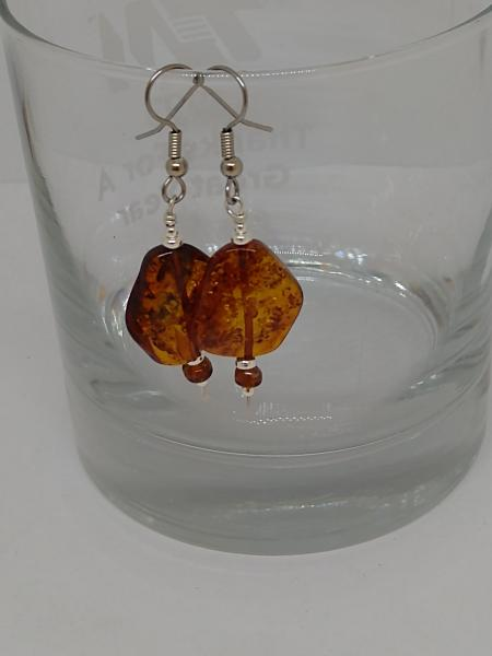 Amber Beads with Sterling Silver Accents