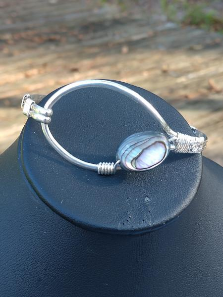 Sterling Silver Wire Wrapped Bracelet with Abalone Shell