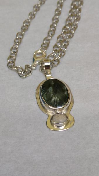 Sterling Bezel Set Saraphenite and Lace Agate Pendant