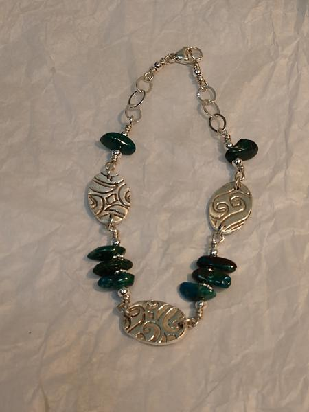 Textured oval links with chrysocolla stones bracelet