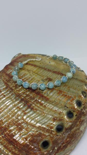 Sterling Silver Wire Wrapped Aquamarine Bracelet