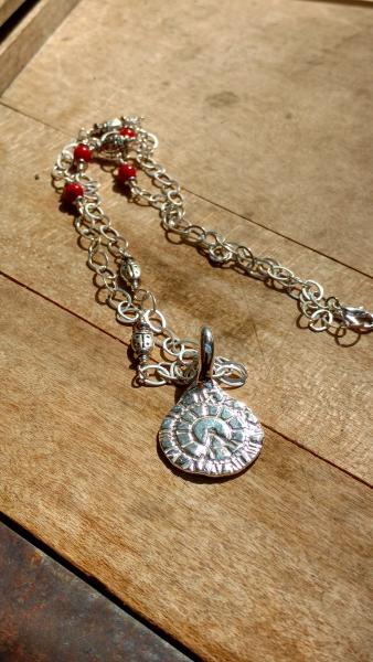 Sterling Silver Clock Face Pendant with Lady Bug Charms