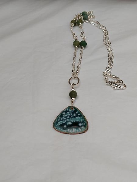 Enamel Green and White Crackle Pendant