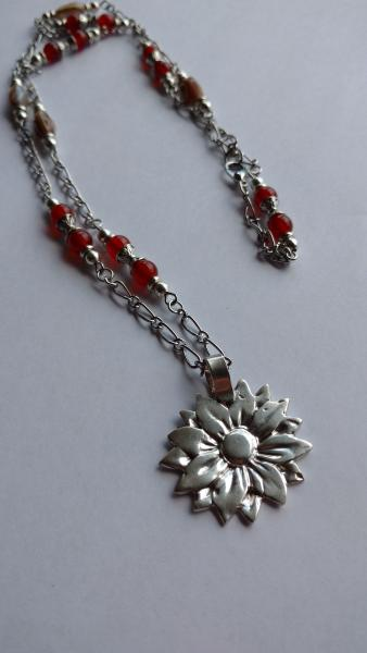 Sterling Flower Pendant with Carnelian, Abalone Beads