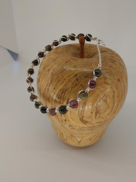 Sterling Silver Tourmaline Bead Wire Weaved Bracelet