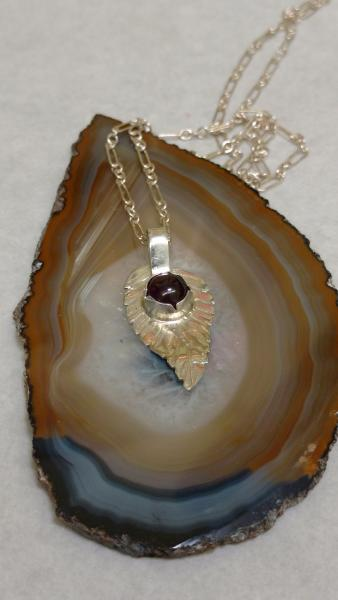 Sterling Silver Leaf with Garnet Stone