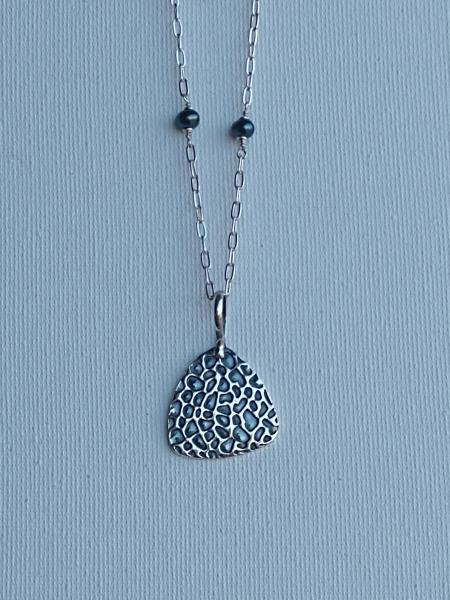 Sterling Silver Textured Triangle Shape Necklace with Black Pearls