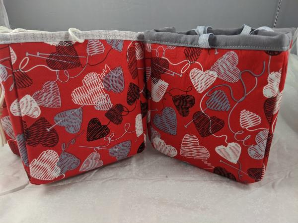 Project Bag - Red with Hearts