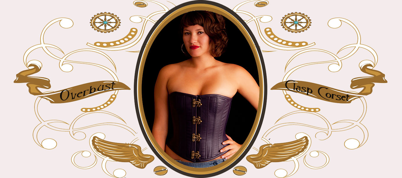 Leather Overbust Clasp Front Corset picture