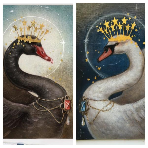 The Day & Night Swans Pair