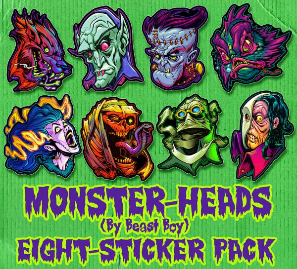 MONSTER-HEADS by BeastBoy Sticker Pack