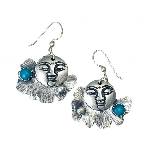 Buddha and fan leaf earrings