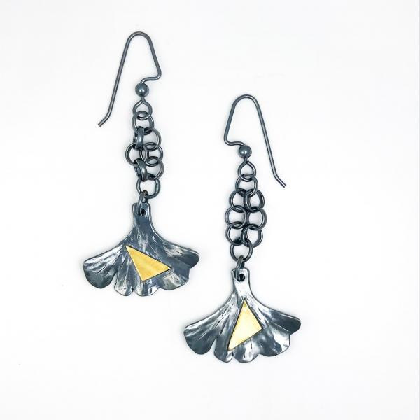 Gunmetal Ginkgo Dangling Earrings