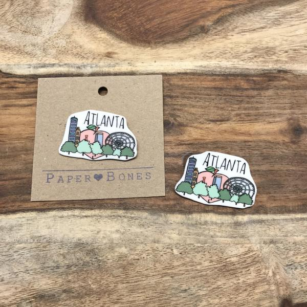 Atlanta Skyline - Pin or Magnet