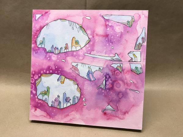 Pink Crystal Caves - Original watercolor painting