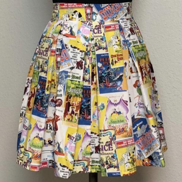 Vintage Disney Posters High Waisted Pleated Skater Skirt