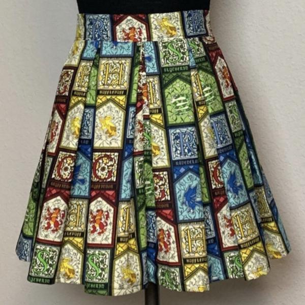 Harry Potter Stained Glass Houses High Waisted Pleated Skater Skirt