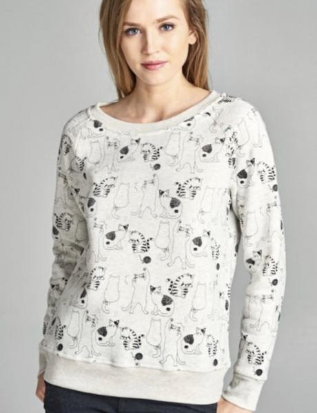 Cat Printed Fleece Lined Sweatshirts