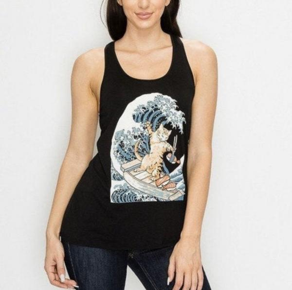 Super Soft Surfing Sushi Cat Racer Back Tank Top