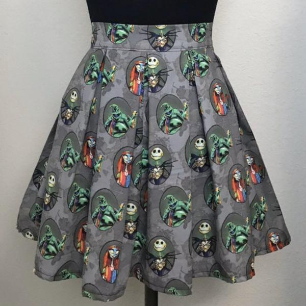 Nightmare Before Christmas High Waisted Pleated Skater Skirt