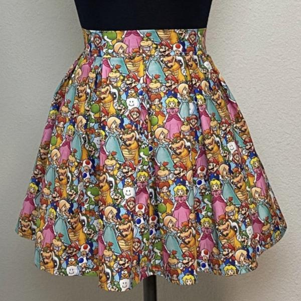 Mario Brothers High Waisted Pleated Skater Skirt