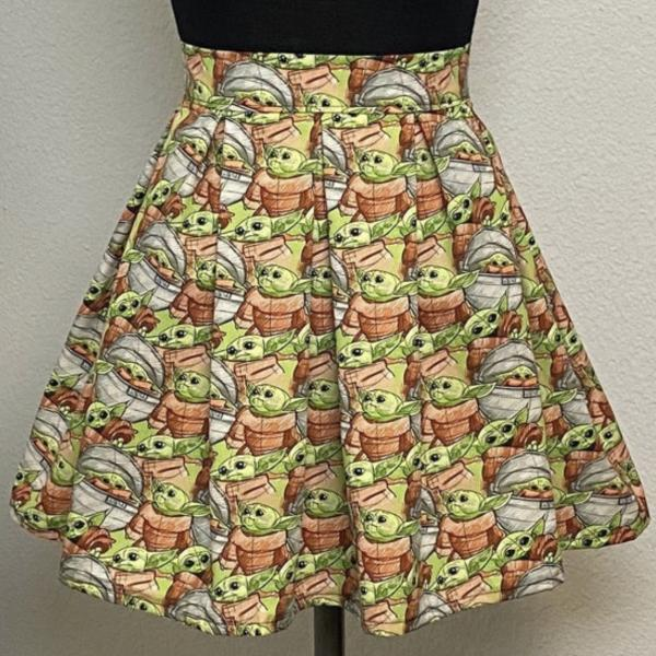 Baby Yoda High Waisted Pleated Skater Skirts