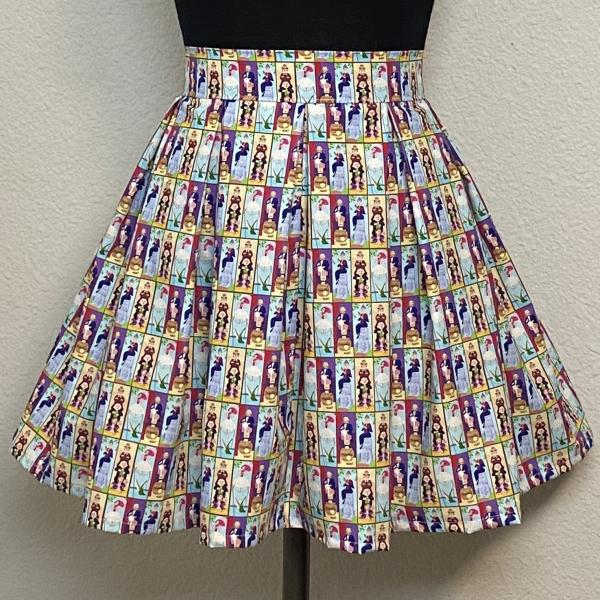Haunted Mansion Stretching Portraits High Waisted Pleated Skater Skirt