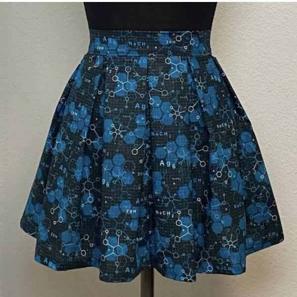 Molecules Chemistry High Waisted Pleated Skater Skirt