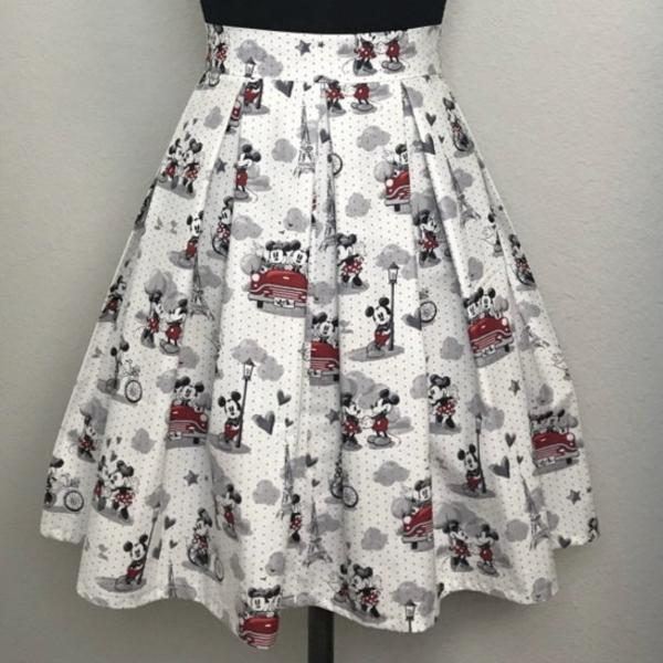 Paris Mickey and Minnie High Waisted Pleated Skater Skirts