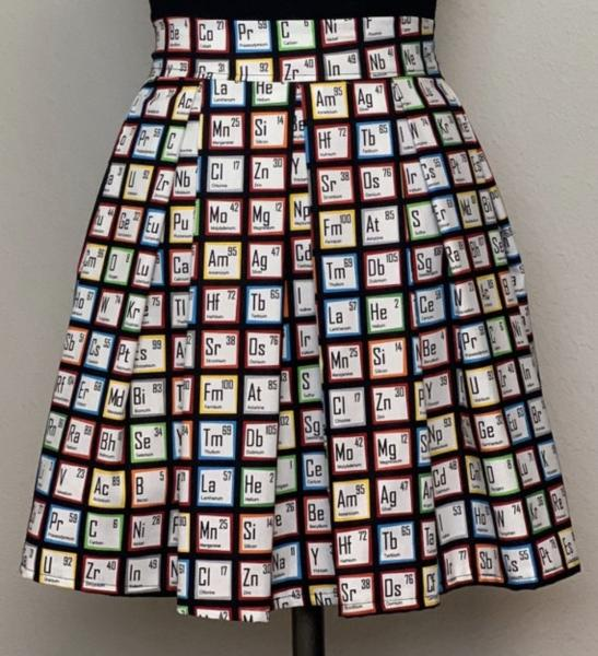 Periodic Table High Waisted Pleated Skater Skirts